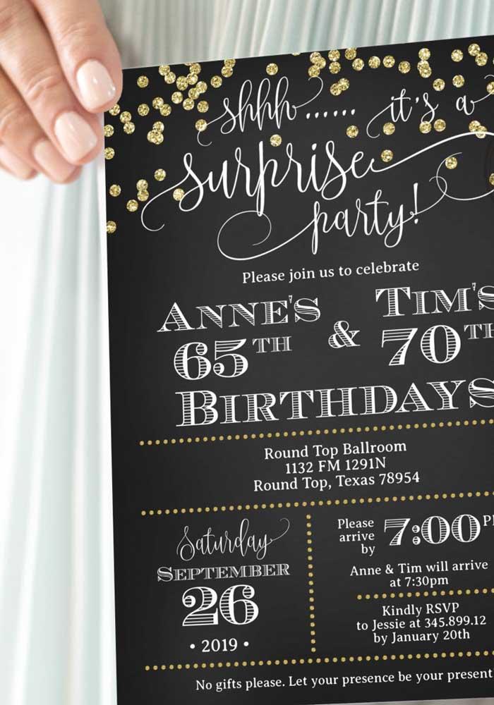 Modelo de convite para festa surpresa. Enfatize para os convidados a importância de manter segredo sobre a festa