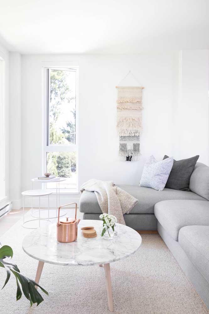 O estilo escandinavo também se valoriza com a mesa de mármore