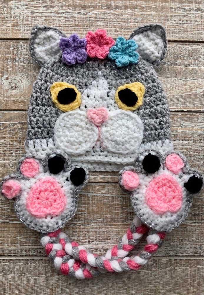 Agora é a vez dos gatinhos invadirem os modelos de toucas de crochê