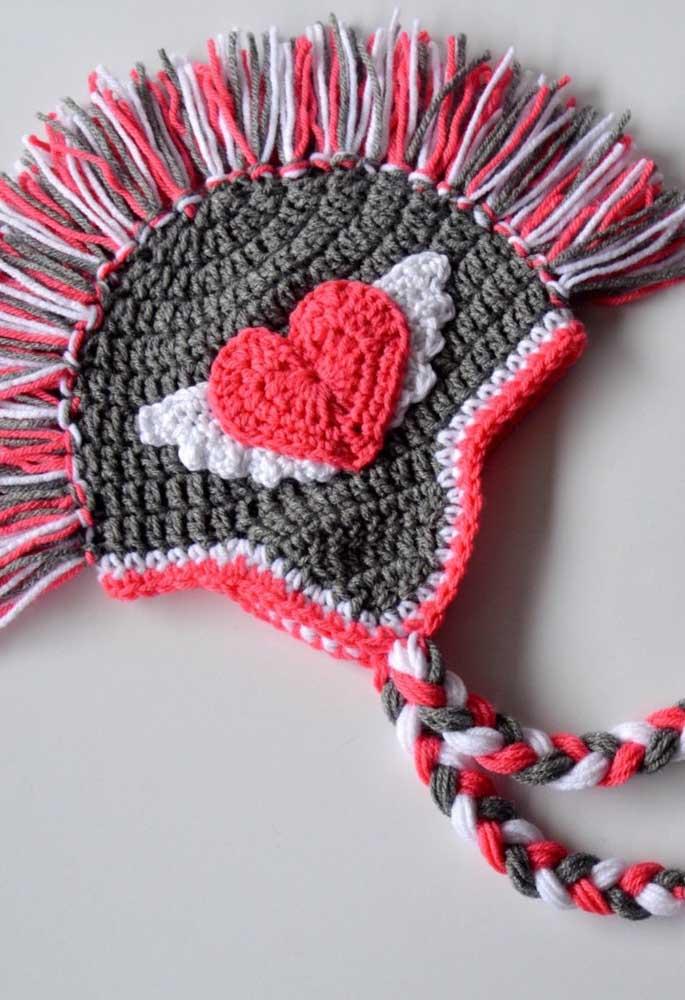 Touca de crochê tricolor!