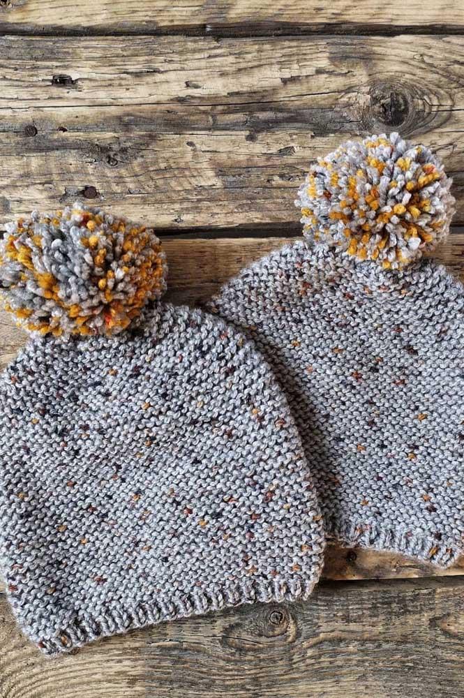Cinza e amarelo: uma linda composição de cores para a touca de crochê
