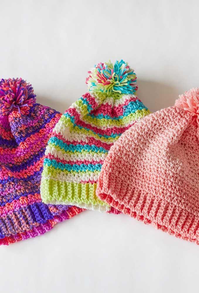 Toucas de crochê em diversas cores para todos os gostos e estilos