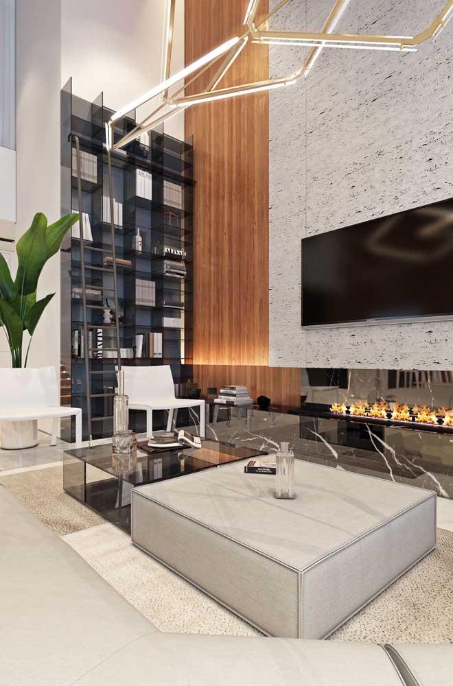 Sala de estar de uma penthouse: luxuosidade e elegância