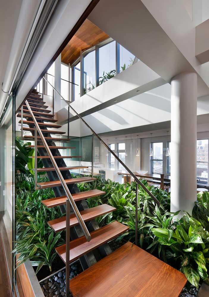 Vista interna de uma penthouse. Nada muito diferente de um duplex ou apartamento de cobertura