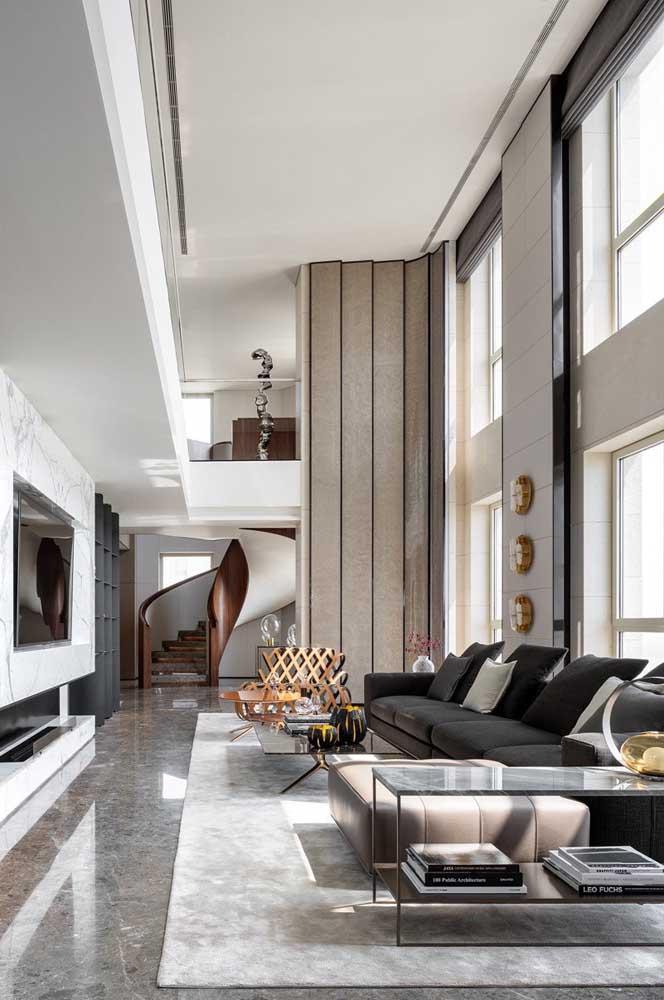 O mezanino é uma ótima solução de aproveitamento do pé direito alto da penthouse