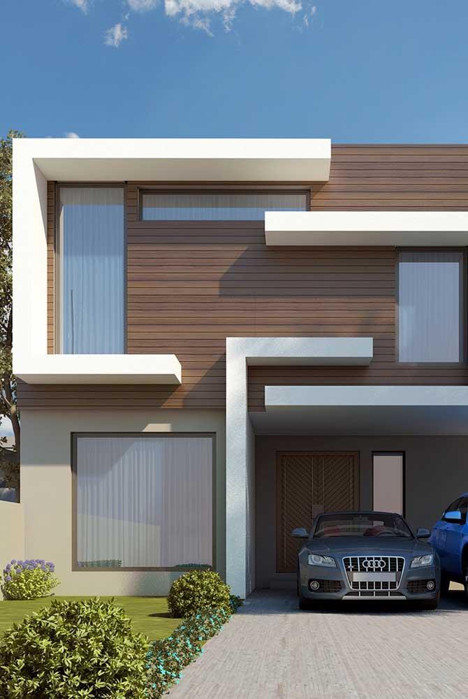 Arquitetura moderna é igual a casa branca com detalhes em madeira