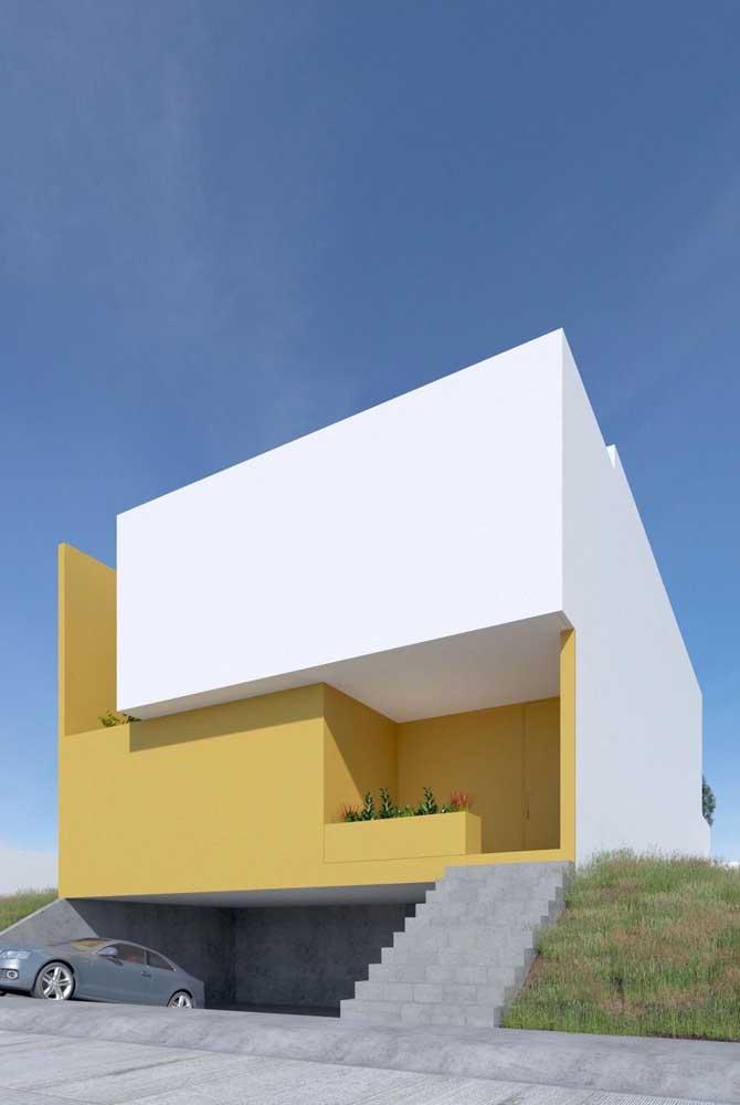 Uma casa moderna e super arrojada. Repare que aqui não há nada mais do que a pintura para destacar a arquitetura