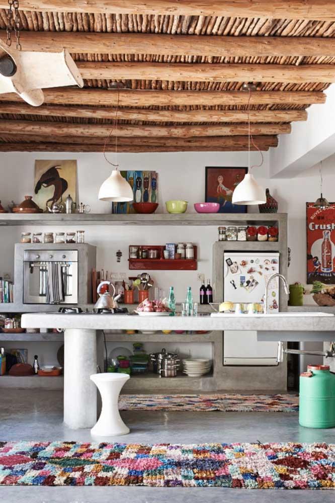 Tapete de frufru estilo passadeira para decorar a cozinha