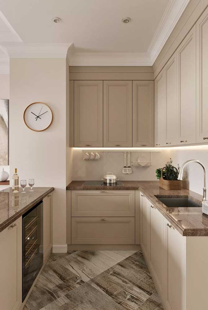 Tons neutros e suaves para a cozinha provençal clássica e elegante