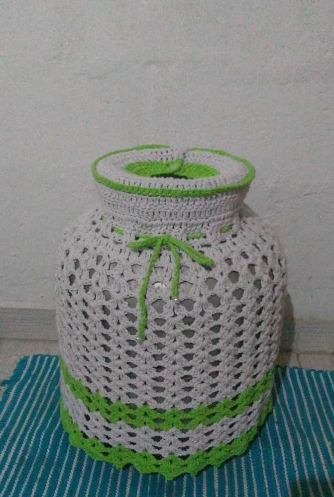 Um toque cítrico para a capa de botijão em crochê