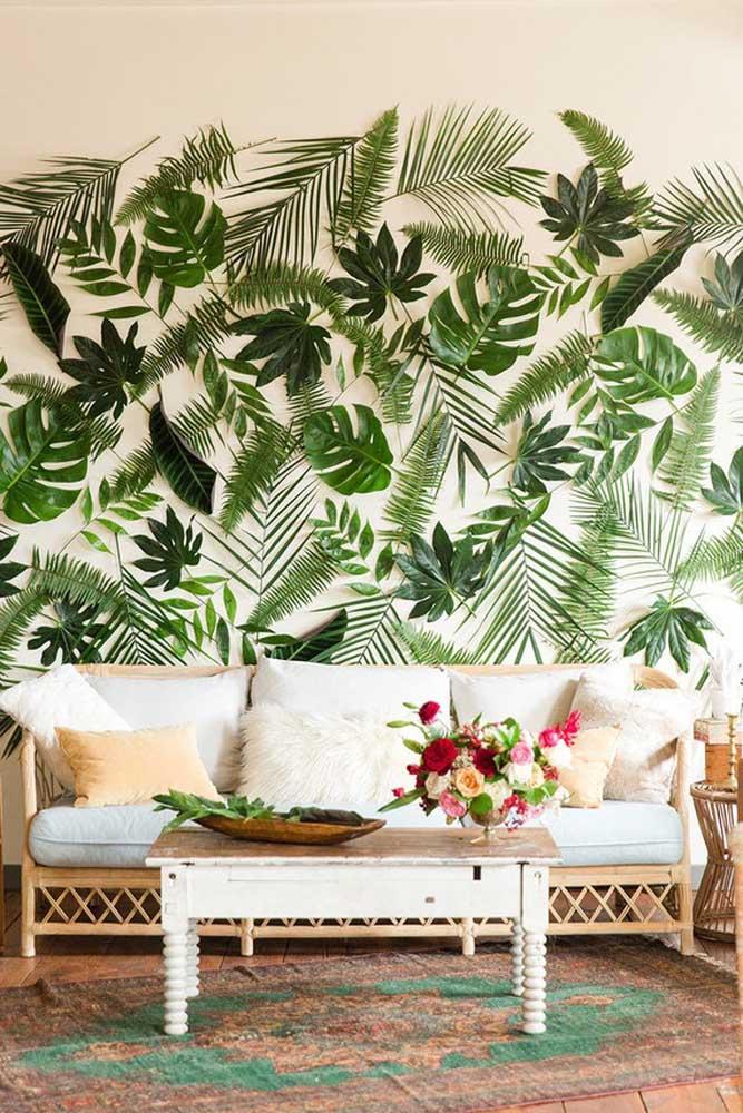 Painel de dia das mães em estilo tropical. As folhas naturais conferem um clima todo especial para o ambiente