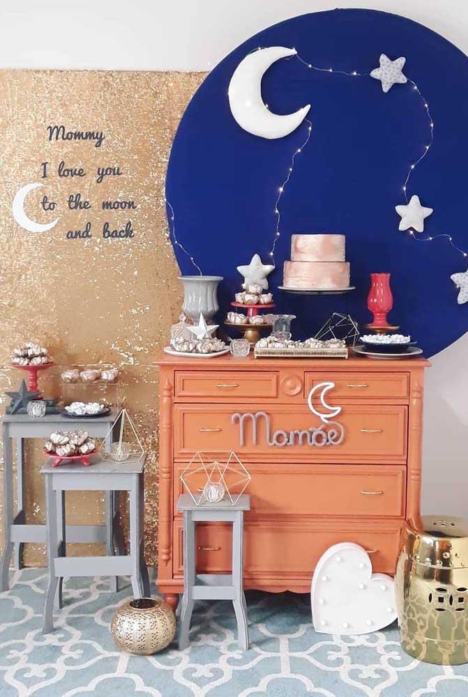 Painel de dia das mães inspirado no céu iluminado pela lua e pelas estrelas