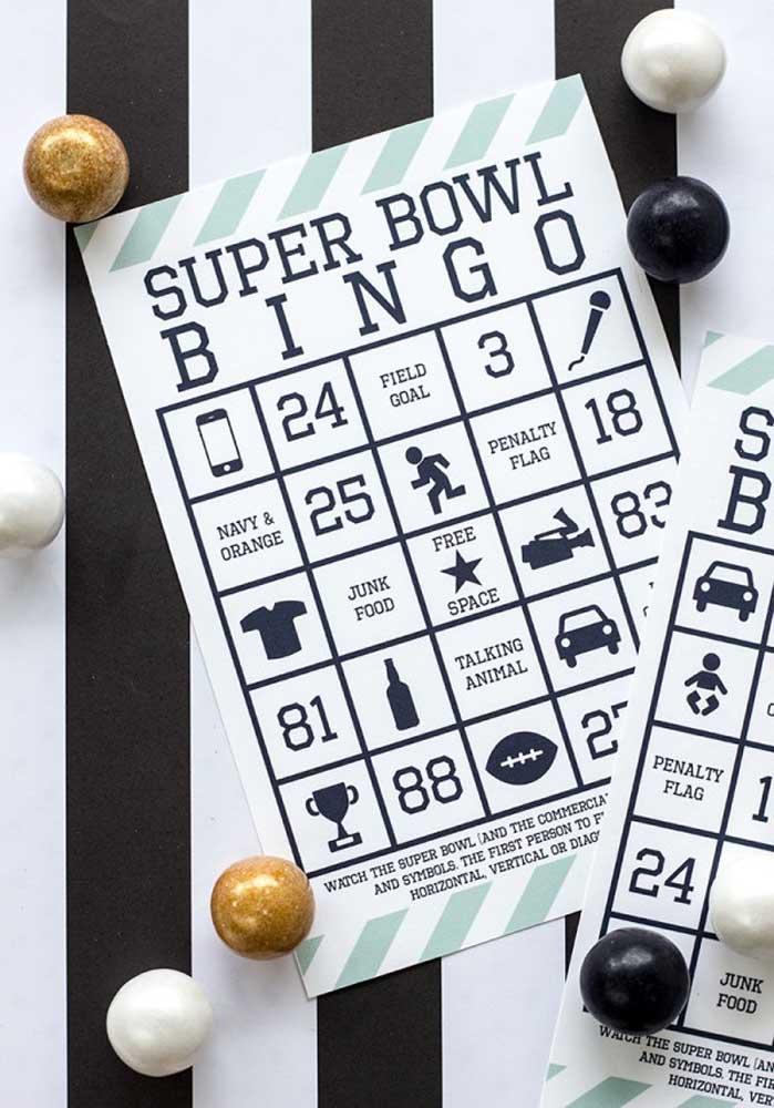 Um bingo temático para descontrair os convidados antes do Super Bowl começar