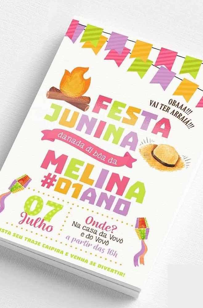 Convite de festa junina para aniversário infantil. Repare que o convite deixa claro que os convidados precisam se caracterizar para a festa