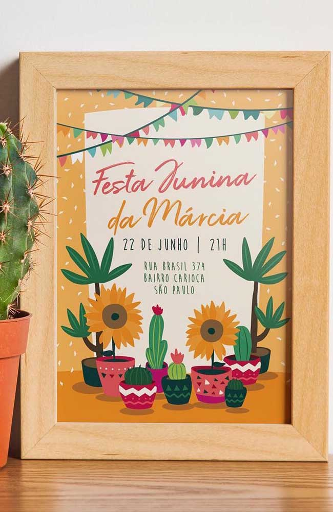 E se você transformar o convite de festa junina em um quadro?