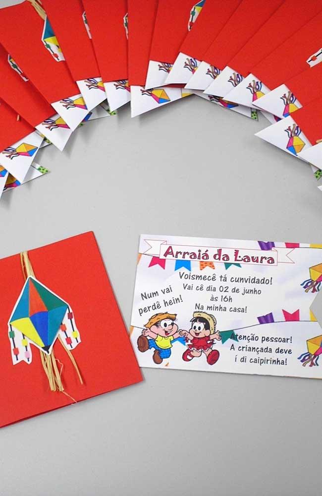 Convite de festa junina ilustrado pelo Chico Bento e a Rosinha. Dois ícones do interior do Brasil