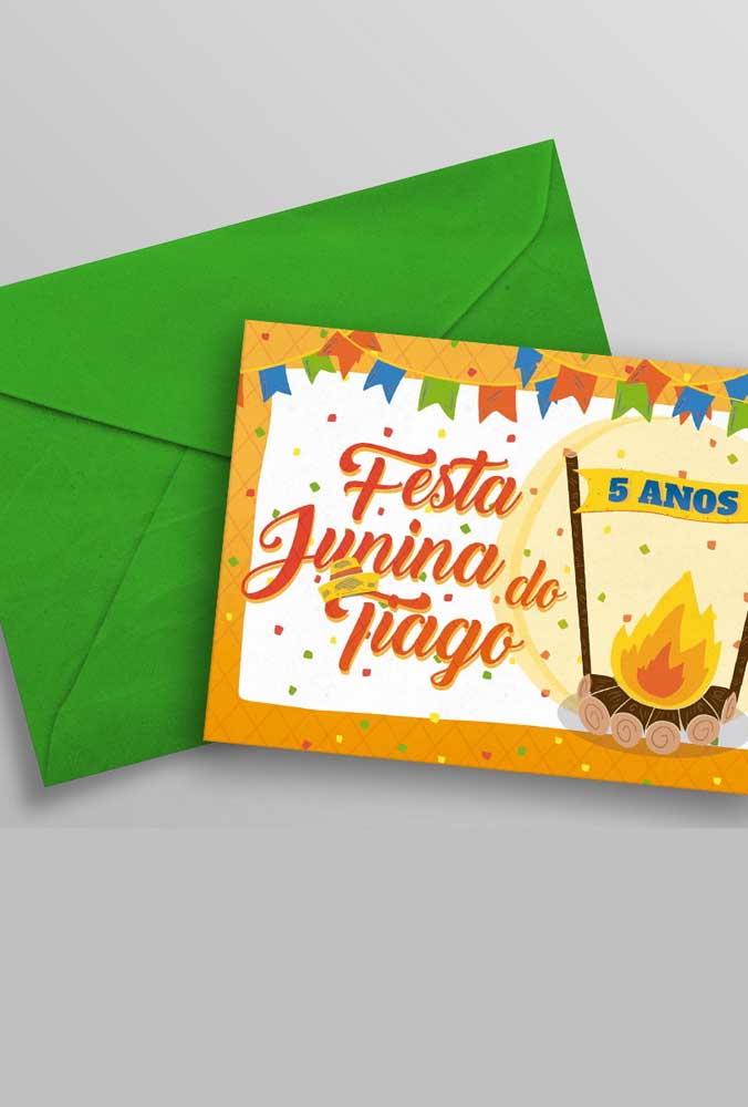 Convite de festa junina infantil simples. Basta editar e imprimir