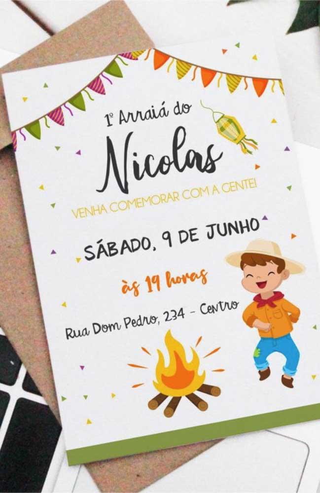 Convite de festa junina para aniversário de um ano