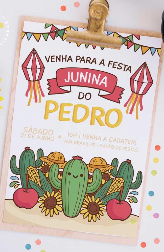 Convite de festa junina estampado por cactos, milhos, bandeirinhas e balão