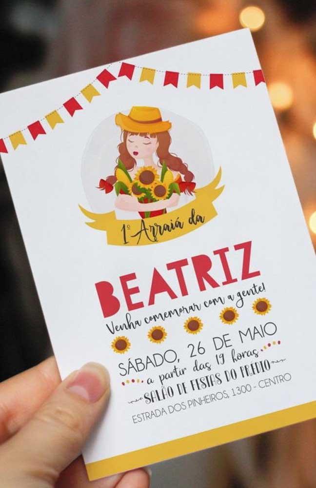Capriche na paleta de cores, nas fontes e nas ilustrações para deixar o seu convite de festa junina lindão