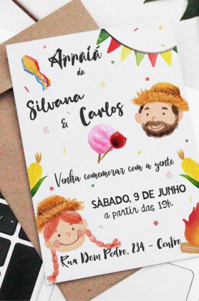 Modelo de convite de festa junina que pode ser distribuído tanto na versão impressa, quanto online