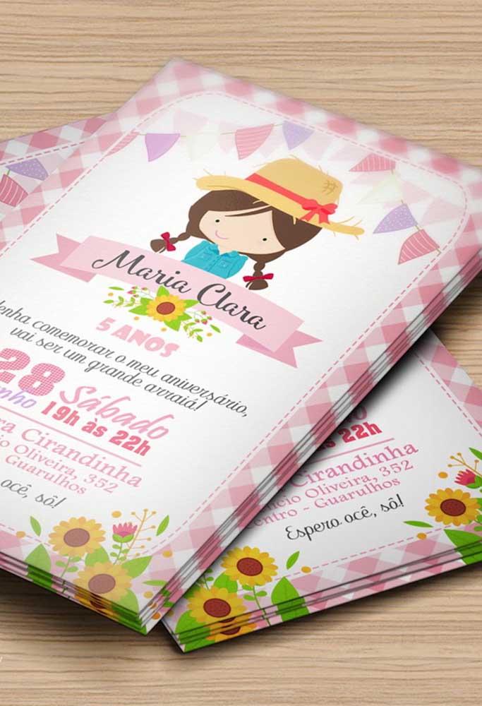Convite de festa junina infantil super menininha e delicado