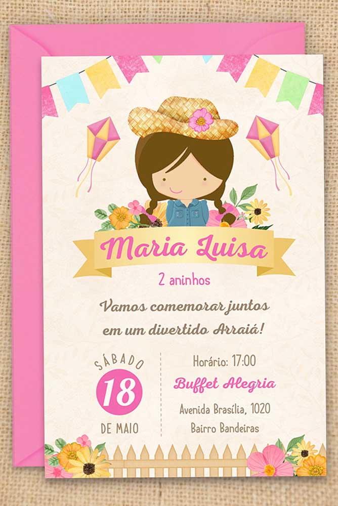 Aqui, outra linda inspiração de convite de festa junina infantil para meninas