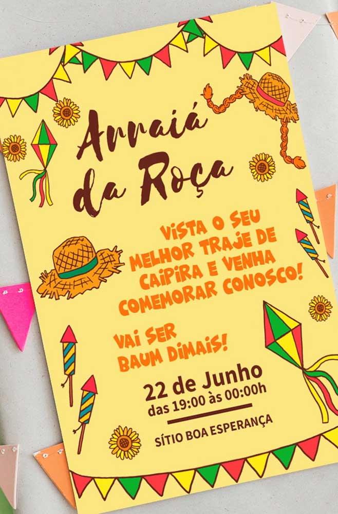 Convite de festa junino amarelo, a cor da alegria!
