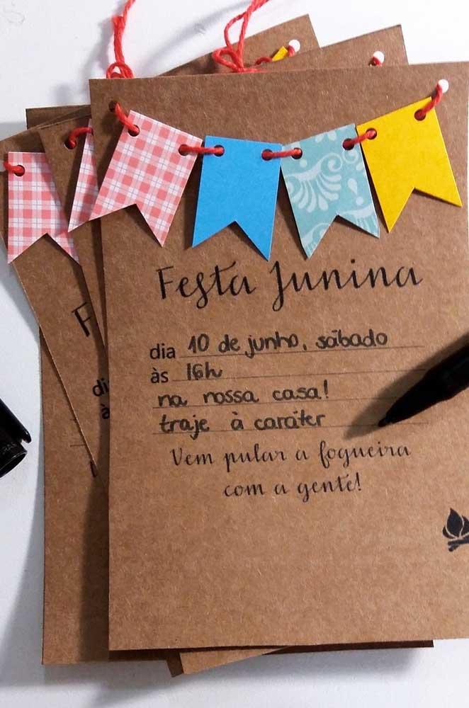 Convite de festa junina escrito a mão! O modo mais tradicional de convidar alguém
