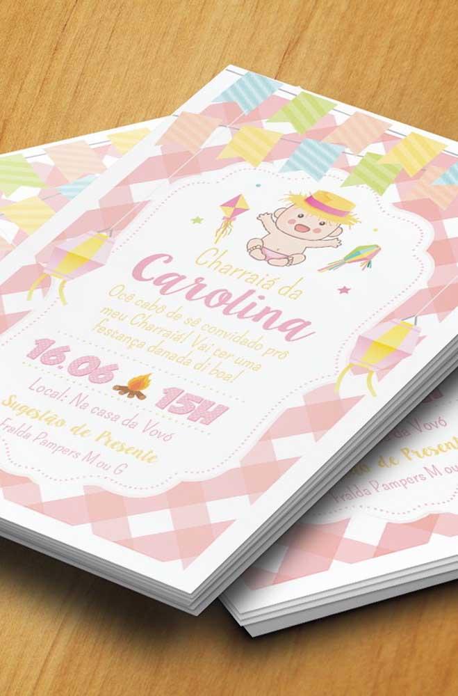 Modelo de convite de festa junina para chá de bebê: simples e bonito