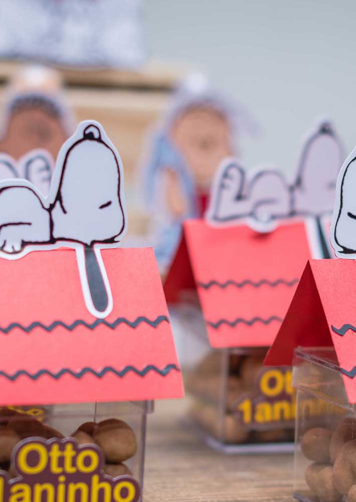 Lembrancinha do Snoopy: caixinha de acrílico com doces simulando a casa do personagem