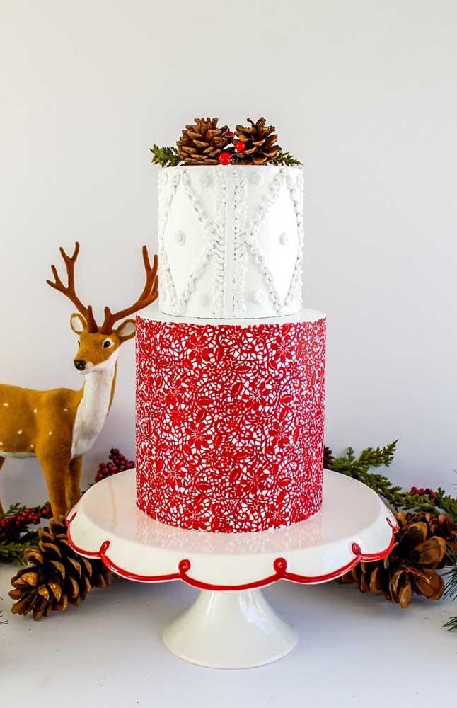 O que acha de um bolo fake de natal? Use-o para decorar a mesa da ceia