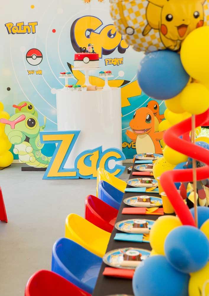 Você já pensou em reunir todos os amigos do aniversário e fazer uma festa pokemon na escola?