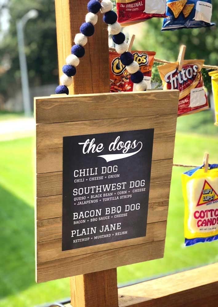 Se a festa tem uma variação de cachorro quente, é melhor fazer uma placa identificadora.