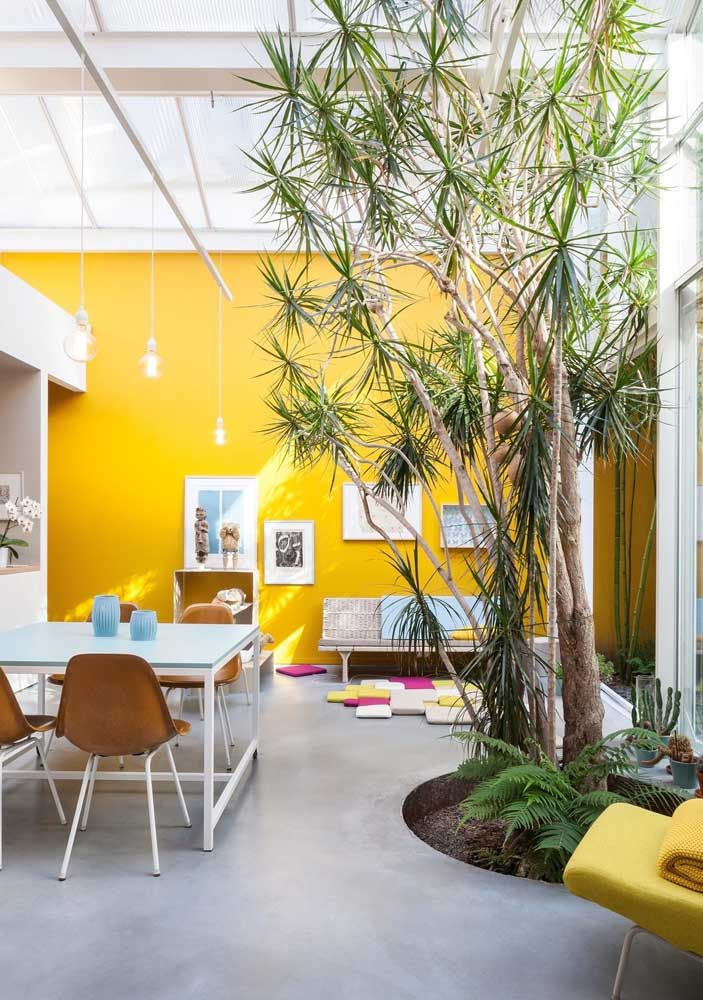 Para aproveitar ainda mais a luz natural que entra na sala, pinte a parede de amarelo