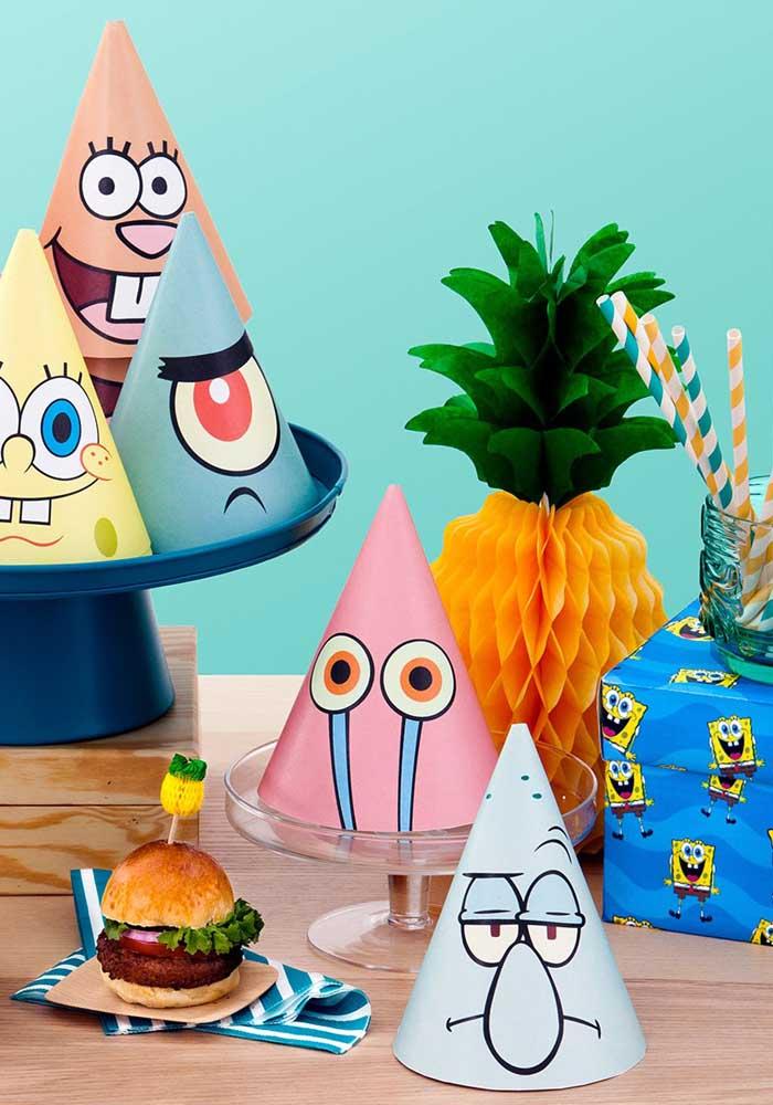 Chapéus de aniversário com os personagens do Bob Esponja. Para decorar e divertir na hora do Parabéns