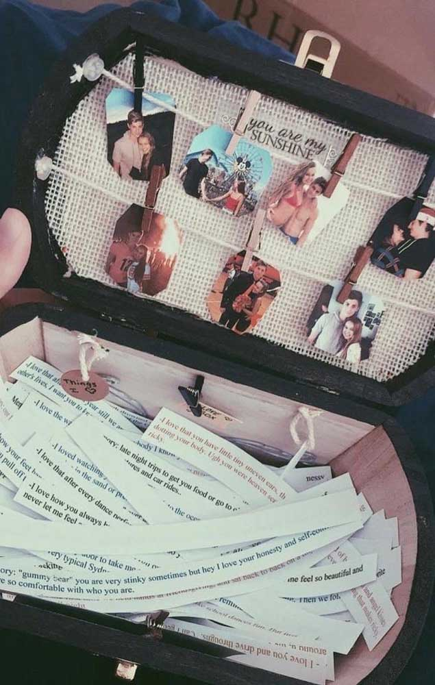 Caixa surpresa para namorada com fotos e bilhetinhos especiais