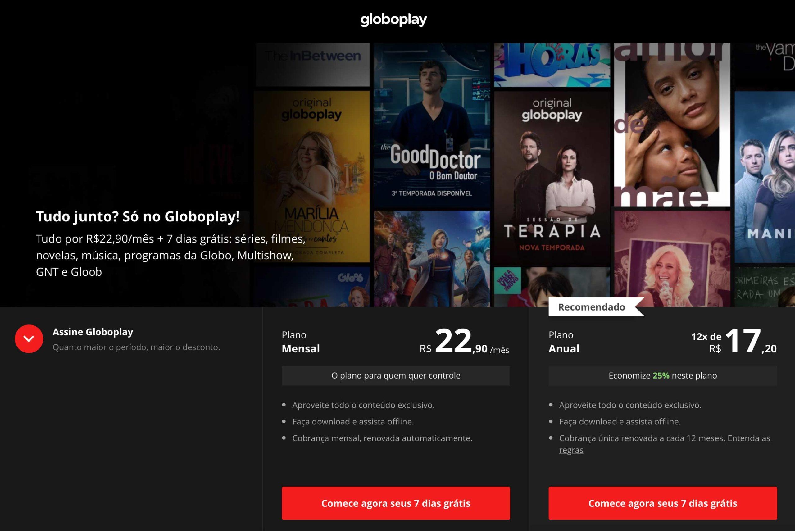 Planos da GloboPlay