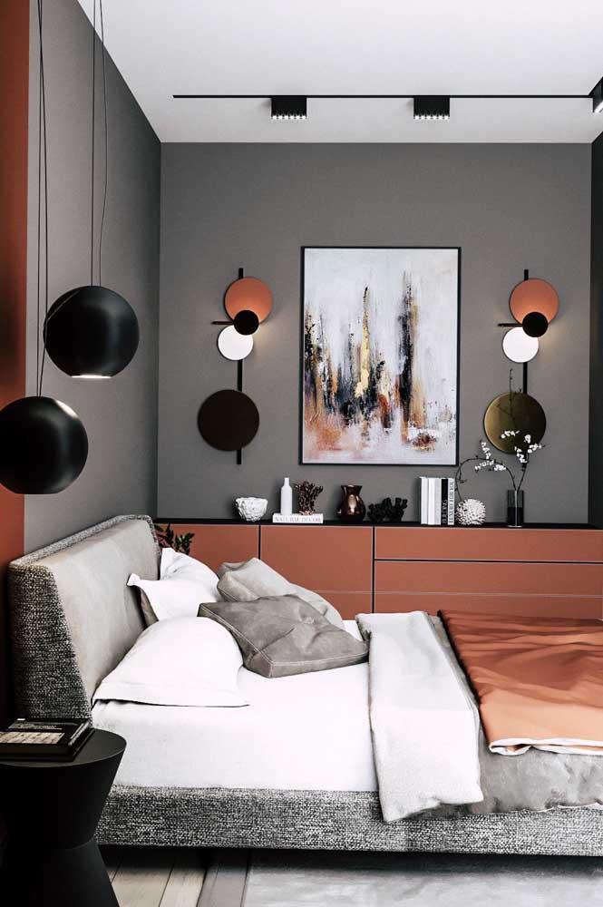 Quer usar cores marcantes na decoração do quarto de solteiro? Então combine tons neutros, como o cinza