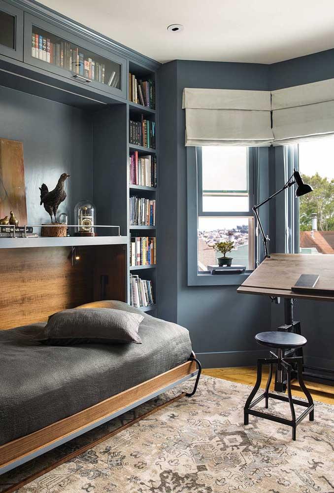 Móveis e paredes na mesma cor ajudam a uniformizar visualmente o quarto, além de garantir uma sensação de maior espaço