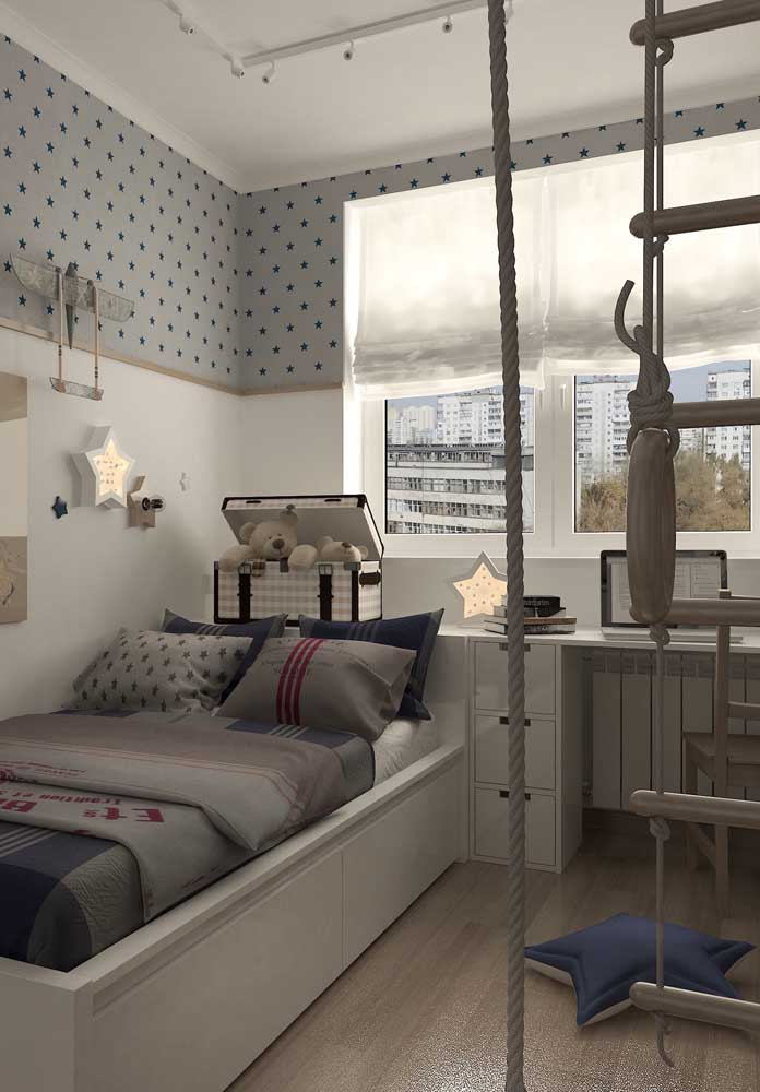 Um toque escandinavo na decoração desse quarto de solteiro infantil