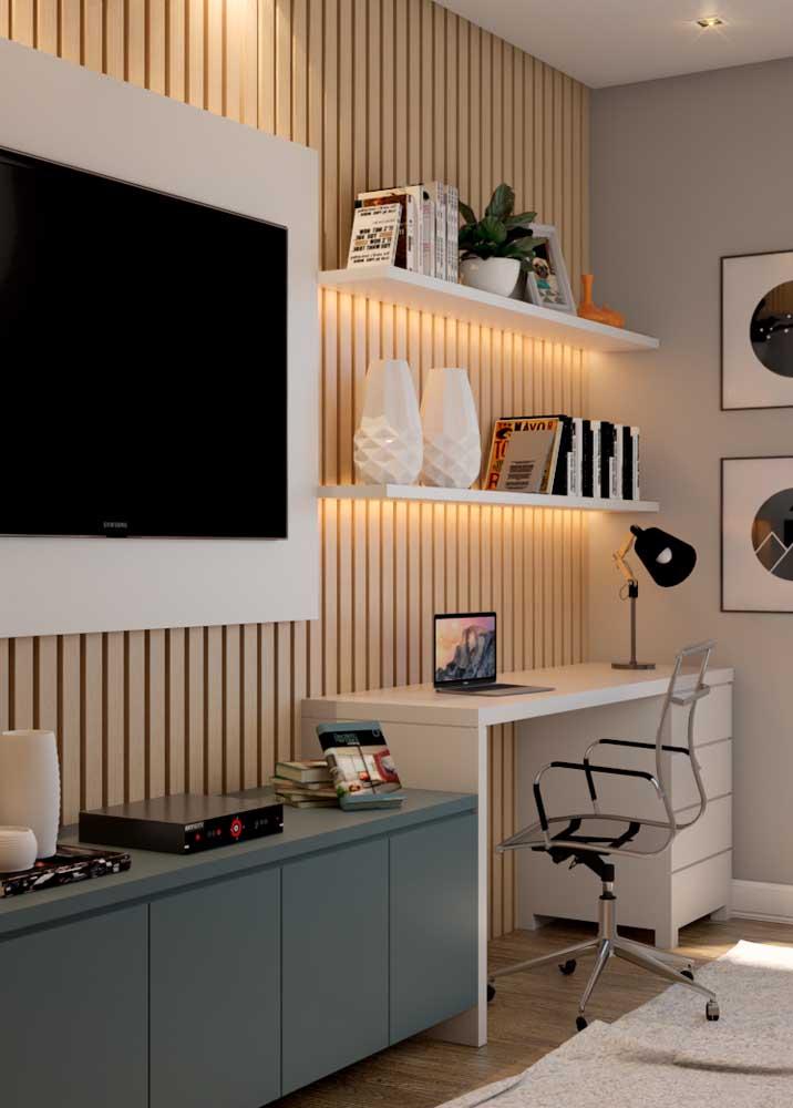 Escritório e sala de estar podem conviver juntos desde que não haja interrupções constantes