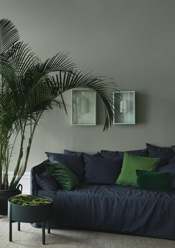 Sala verde, azul e cinza: combinação moderna, elegante e sóbria