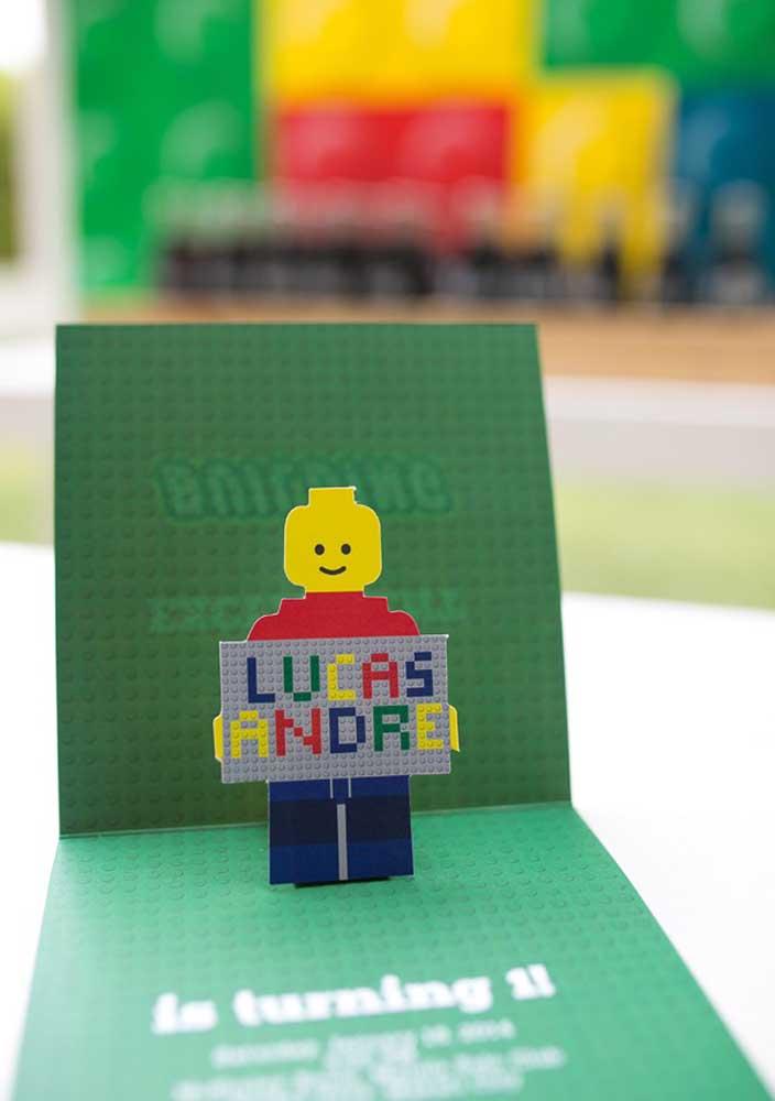 Convite para Festa Lego em 3D