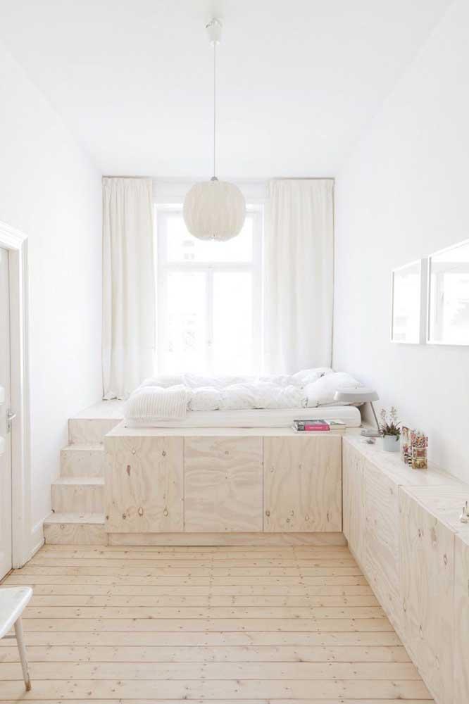 Quarto de solteiro feminino com móveis planejados para aproveitar ao máximo o espaço