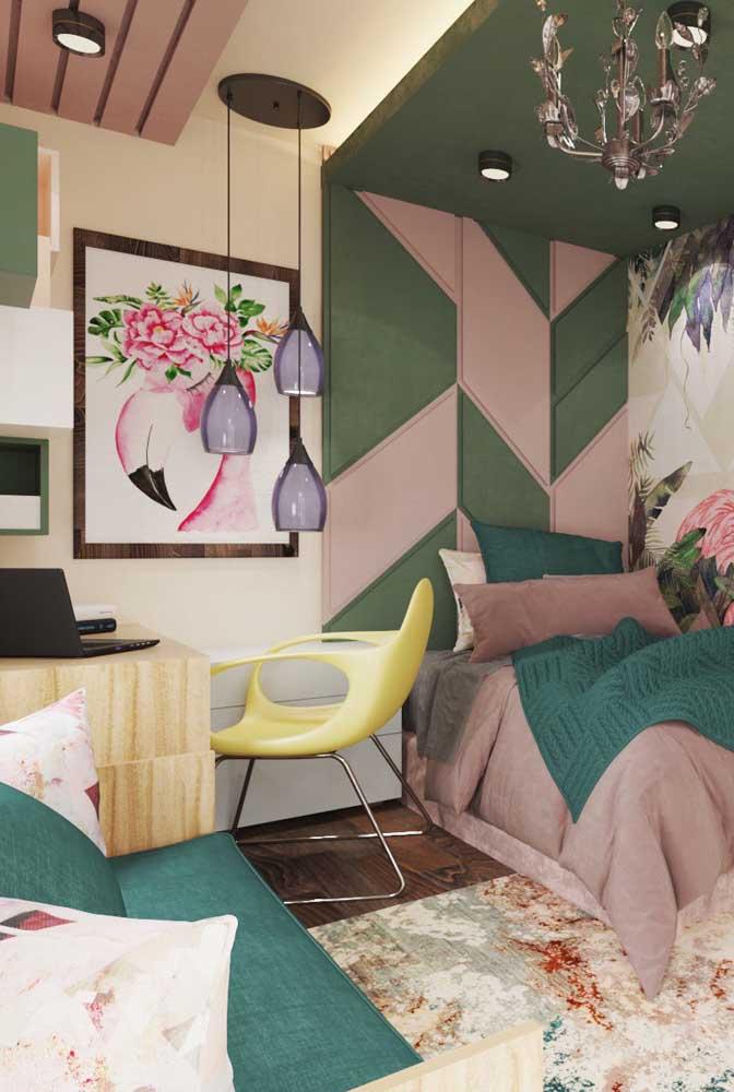 Uma linda sugestão de cores para quarto de solteiro feminino: verde e rosa