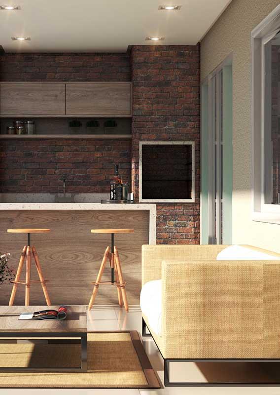 Conjunto de sofá e poltrona para a varanda moderna de apartamento