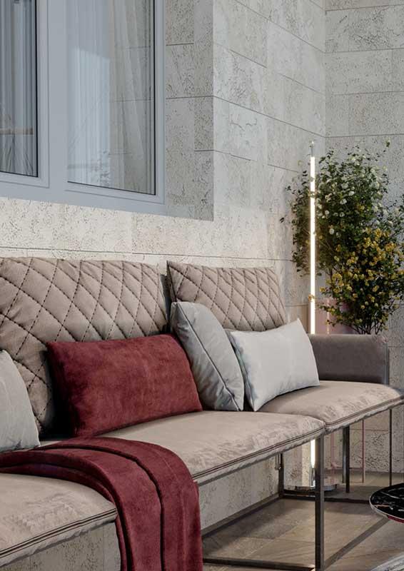 Sofá para varanda com mix de materiais: aço e fibra natural