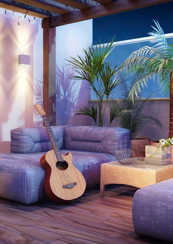 Sofá em estilo futton para a varanda jovem e moderna
