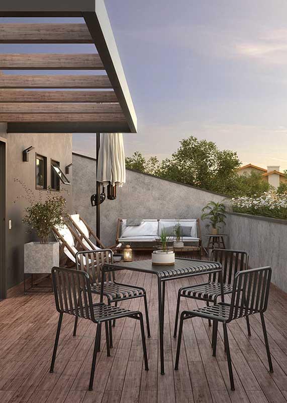 Sofá e espreguiçadeiras para varanda formando um conjunto perfeito!